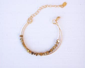 Bracelet double fine gold and faceted hematites beads
