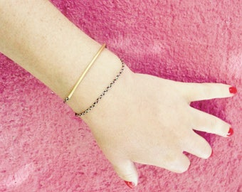 Bracelet braided double son Tower and ring fine gold
