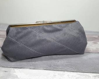 Grey clutch bag, purse, suede cloth, handbag, metal clasp, evening bag