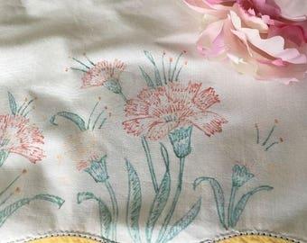 Vintage Painted Cotton Pillowcase
