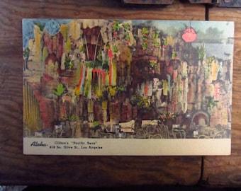 """Vintage Linen Clifton's """"Pacific Seas"""" Postcard - Los Angeles Restaurant  Souvenir -"""
