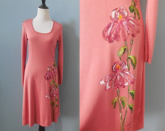 Vintage NINOTCHKA hand painted DRESS long sleeve scoop neck dress