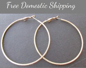 Hoop Earrings, Medium Hoop Earrings, Vintage Hoop Earrings, Gold Tone Earrings, T, Modern Earrings, Free US Shipping,