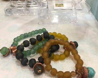 Recycled Glass Acorn Bracelet