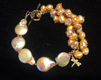 Gold Freshwater Disc Coin Baroque Pearl Gold Filled Toggle Vermeil Dragonfly Charm Pearl Dangle Cluster Asymmetric Bracelet