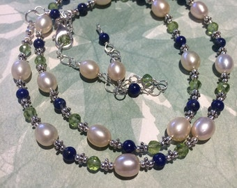 Natural Peach Pearls, Faceted Peridot, Smooth Lapis, Sterling Silver AKA The Quiet Necklace OR Bracelet