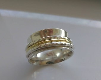 Unisex  solid Gold Spinner Ring handmade with solid Gold 18 K and Sterling Silver for relieving stress and meditation, wedding band
