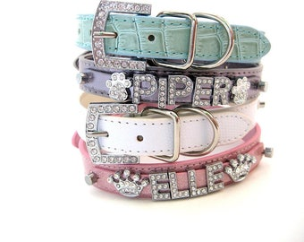 Bling Dog Collar | Pastel Collection | XXS XS S M L XL | Personalized Dog Collar | Name Dog Collar