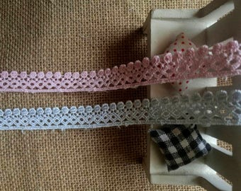 Wholesale lot  20yards  Pink  blue frill  Lace Trim sewing doll DIY  1.8cm