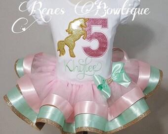 Gold Unicorn Pink, Mint and Gold Birthday Ribbon Tutu Set