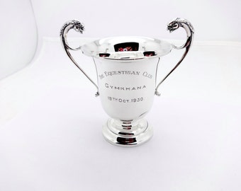 vintage 1930 english sterling silver horse show trophy cup,gryphon head handles