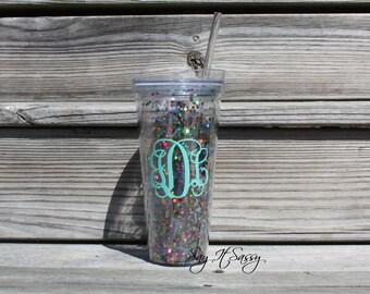 Personalized Glitter Tumbler - 22oz Multicolored CONFETTI Tumbler - Rainbow Glitter - Bridal Party - Bachelorette - Sorority - Party Cup