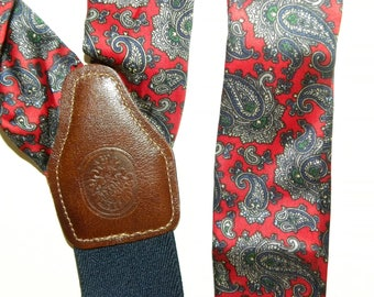 Vintage LIBERTY of LONDON Silk SUSPENDERS / Braces / Red Paisley