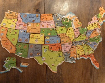 United States Puzzle USA Wood Map Piece Vintage Charm Key Chain Magnet Supply (#166)