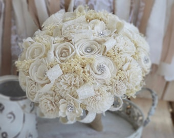 Winter Bouquet, Brooch Bouquet, Ivory Bouquet, Sola Bouquet, Rustic Bouquet, Wedding Bouquet, Sola Bouquet, Ivory Bouquet