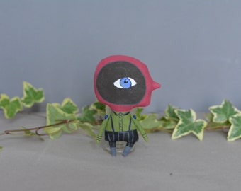 Monster toy - Handmade doll - Little toy - Exrime primitive - Miniature doll - Wall decor home - Stuffed textile rag doll.