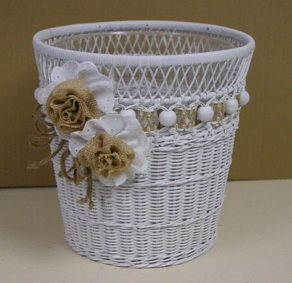 Decorative White Wicker Waste Basket