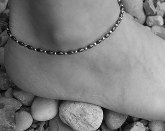 SIMPLICITY hematite anklet, 4 mm hematite beads, stainless steel beads and finishing, steel, stone steel, summer, beach true anklet