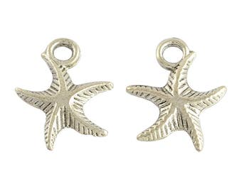 5 Small Antiqued Silver Starfish Charms