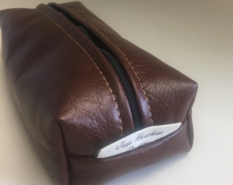 Pencil case, makeup bag, gadget case, handmade in a genuine oaky brown leather