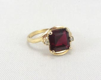 Vintage 10k Gold Ruby Ring | Yellow Gold Created Ruby & White Zircon Ring | Vintage 10k Gold Red Gemstone Ring | July Birthstone Jewelry