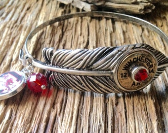 USC Gamecocks feather and Winchester shotgun shell bracelet: South Carolina gamecocks feather and shotgun shell bangle with charm