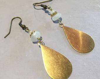 Moonstone and Brass Earrings