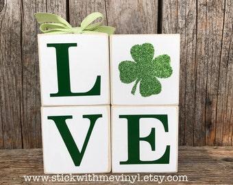 St Patricks day blocks, st Patricks day decor, REVERSIBLE love/hop, St Patrick's day, st Patricks blocks, hop blocks, shamrock blocks, lucky