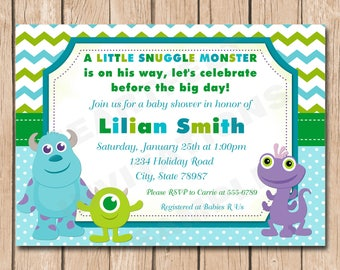 Mini Monsters Inc. Baby Shower Invitation | Boy or Girl, Neutral - 1.00 each printed or 15.00 DIY file
