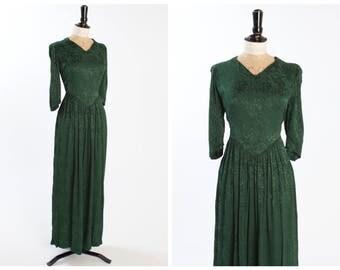 Vintage original 1940s 40s 11011 double elevens label forest green floral silk brocade evening dress UK 8 10 US 4 6 S