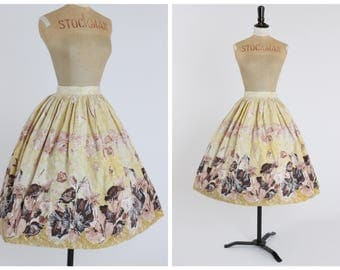 Vintage original 1950s 50s novelty floral border print skirt with amazing tight pleating UK 6 8 US 2 4 XS S