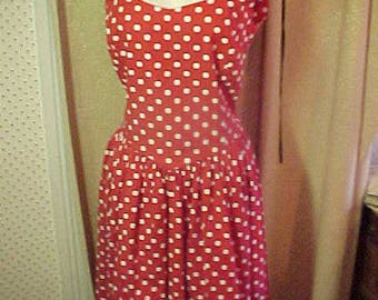 Vintage Laura Ashley Red Cotton Polka Dot Dress, Size 10, UK Made in Great Britain #2236