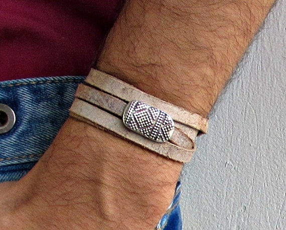 Boho Men's Leather Wrap Bracelet Cuff, Unisex Bracelet, Adjustable to your wrist