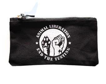ANIMAL LIBERATION stop the testing makeup bag, Vegan Veggie ALF protest vegetarian wash bag Cosmetic Bags