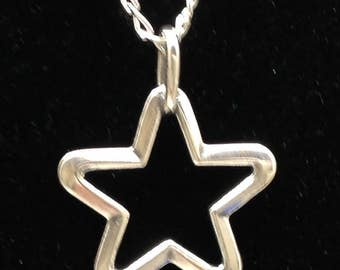 """Sterling silver star on 16"""" chain"""
