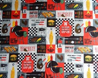 "43"" x 64"" Thin Flannel Fabric Material BBQ Burgers Fish Hot Dogs Picnics Grill"