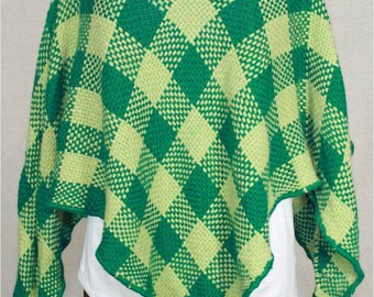 Alpaca and Wool Poncho in Dark Green and Lime Green