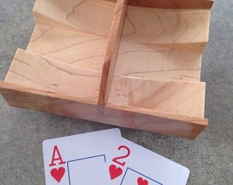 Canasta Tray- Wooden Playing Card Dispenser - Rotating Playing Card Tray