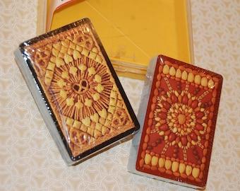 "Vintage Hallmark Bridge Playing Cards / Plastic Coated / ""Suitable Snacks"" / Large Easy to Read Numbers"