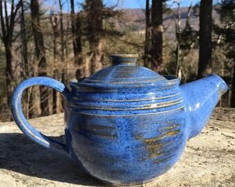cobalt blue ceramic teapot