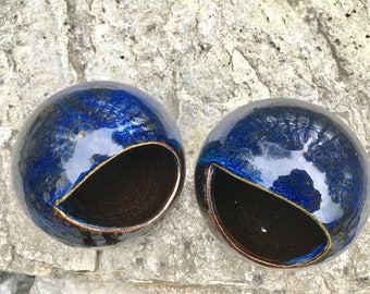 Ceramic Salt Cellar - Midnight Blue and Mahogany