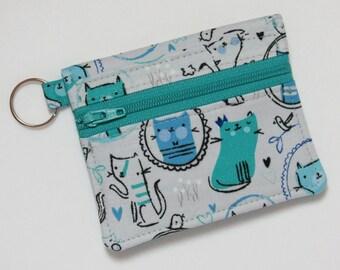 Bifold Keychain Wallet w/ Zipper Coin Pocket & Credit Card/Cash Pockets in cute Cat / Kitten / Kitty Fabric - One of a Kind!