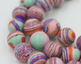 Hawaiian Sunset Fordite Beads-10mm