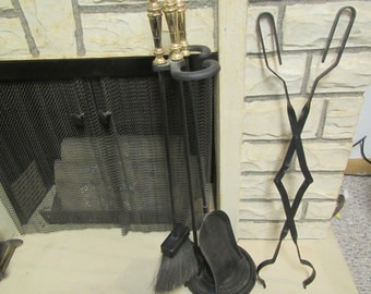 FIREPLACE TOOL SET;  Brass handle shovel, broom brush, and poker ** black metal tongs in stand  (7 f )