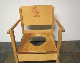 Hedsrom Folding Wood Potty Chair with Bunny on back,  Mid century Decor , Repurposing  chair