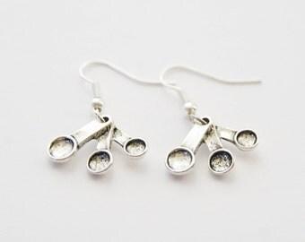 Spoon Earrings, Measuring Spoon Earrings, Measuring Spoon Jewelry, Silver Spoon Jewelry, Baking Earrings, Baking Jewelry, Baking Gifts