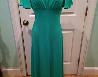 Vintage 70'S Green Goddess Maxi Dress