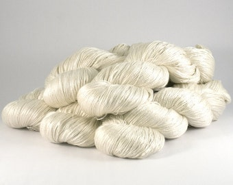Glisten silk hand dyed yarn 'Natural Ecru'