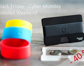 Black Friday, Cyber Monday - black aluminium Wallet, discount