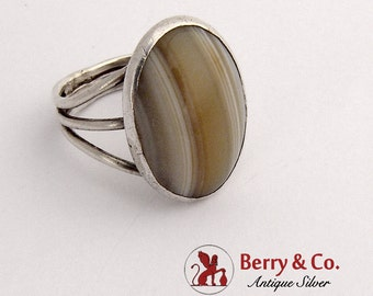 Vintage Oval Agate Ring Sterling Silver